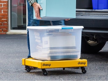 dolly expanded and holding a large container