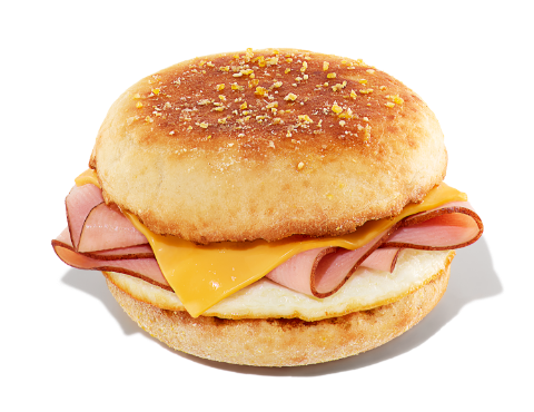 Ham, egg, and cheese on an English muffin