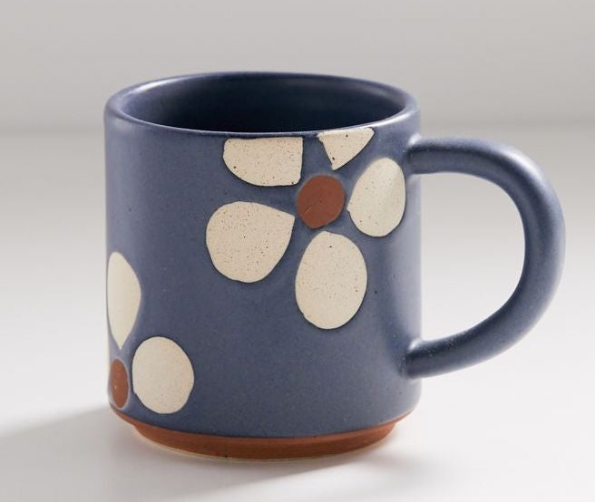 A flower patterned coffee mug