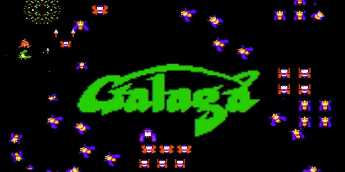 Galaga screen surrounded by alien bugs