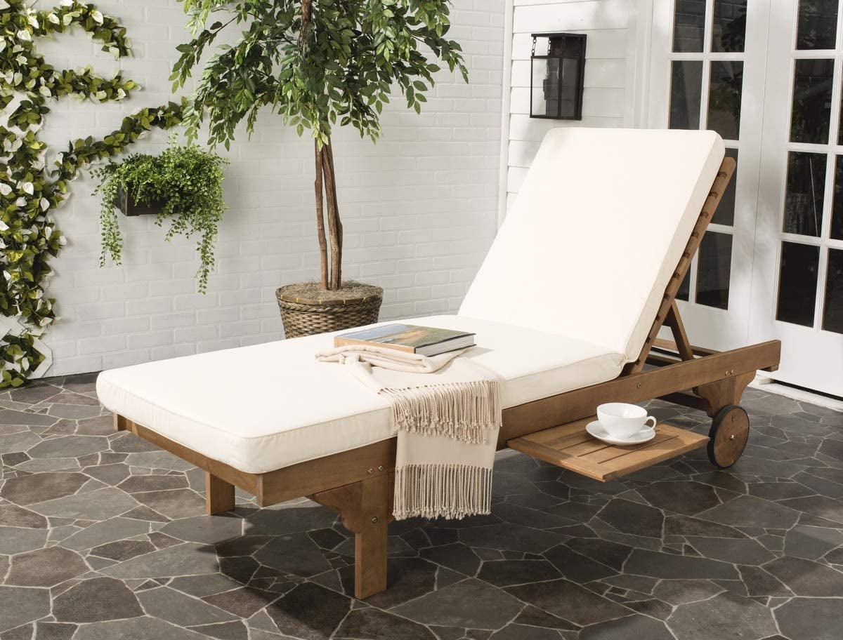 Safavieh wooden chair with white cushions