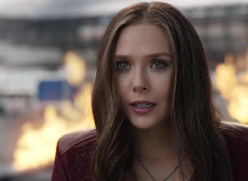 "Elizabeth Olsen as Wanda Maximoff in the movie ""Captain America: Civil War."""
