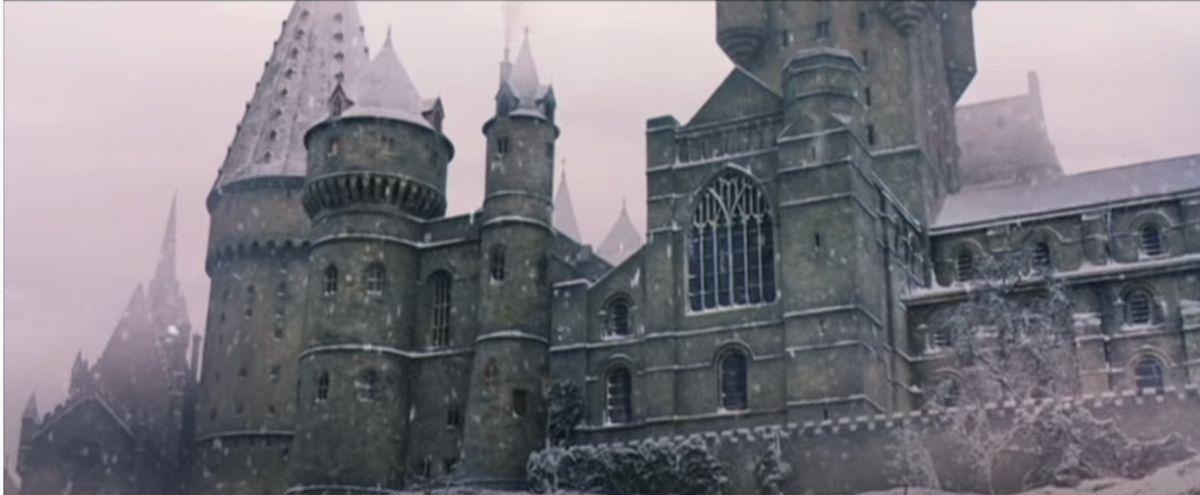 Snow falling outside of Hogwarts