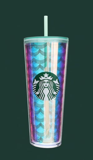 A tall reusable Starbucks cup with a shiny mermaid tail design
