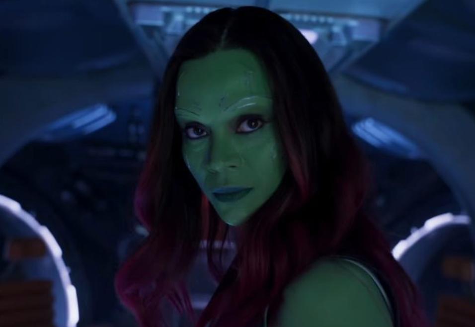 "Zoe Saldana as Gamora in the movie ""Guardians of the Galaxy."""