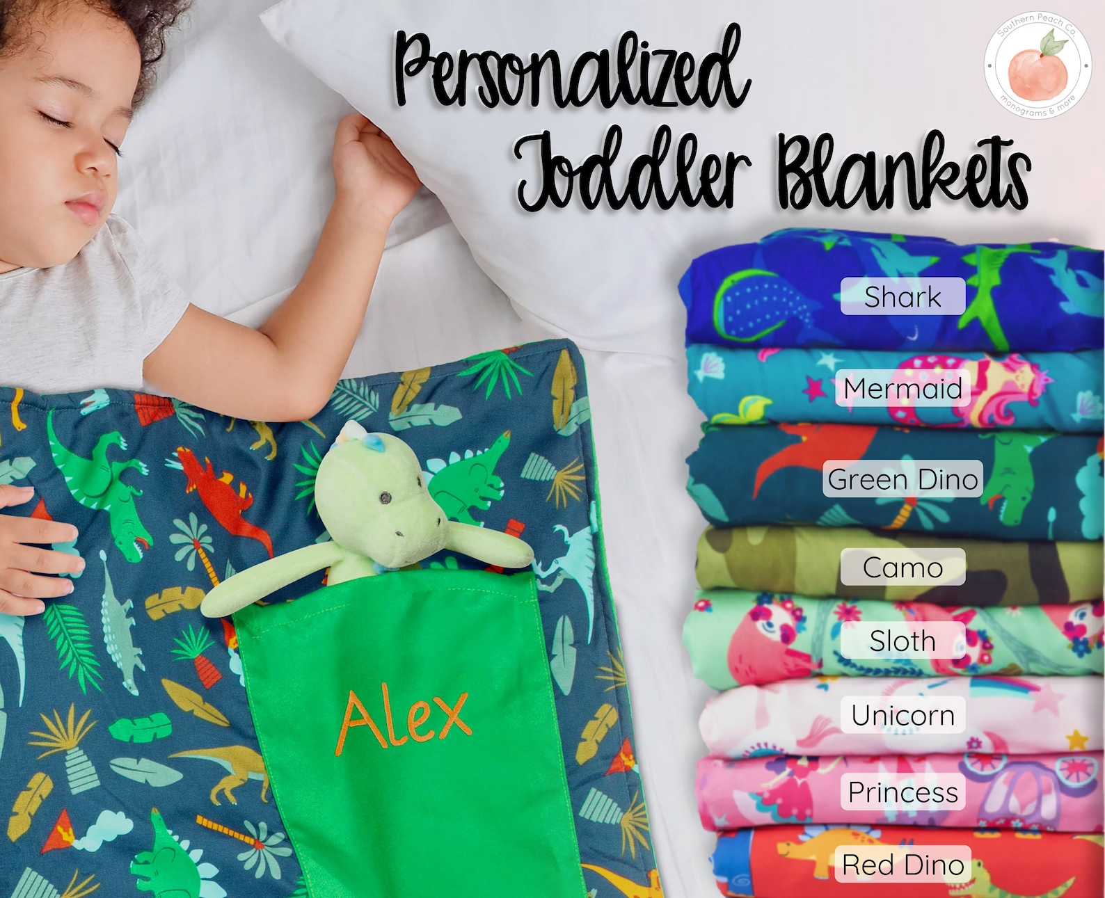 Child sleeping in colorful personalized blanket with pocket for stuffed animal