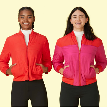 two models both wearing the jacket, showing how it's reversible
