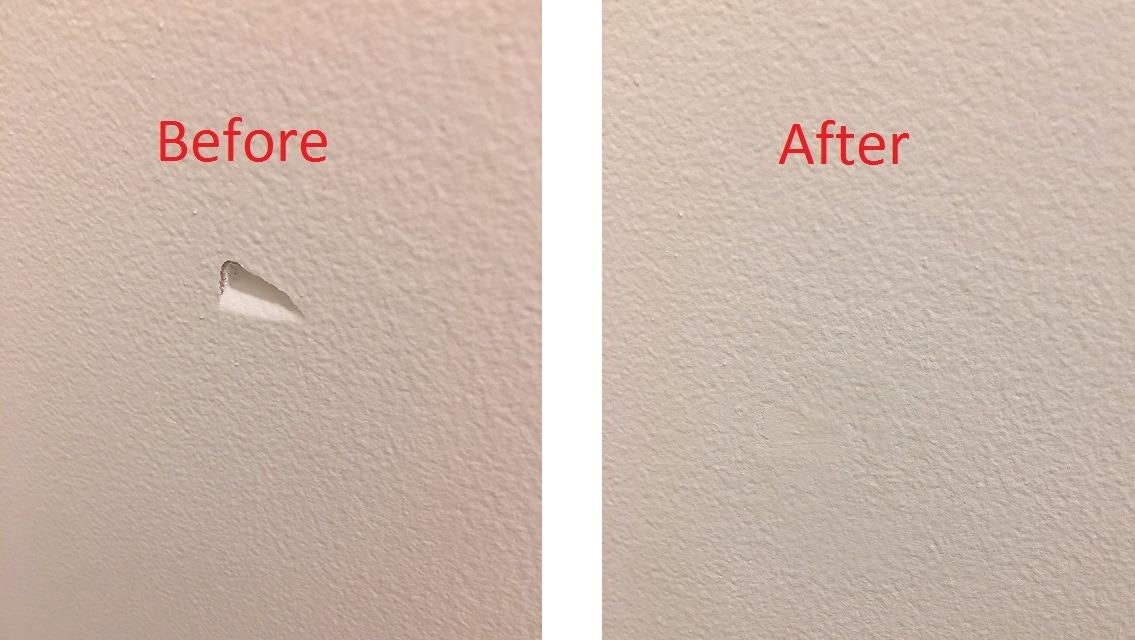 Before photo of a wall with a dent it in and an after photo of the same patch of wall and the dent is totally gone