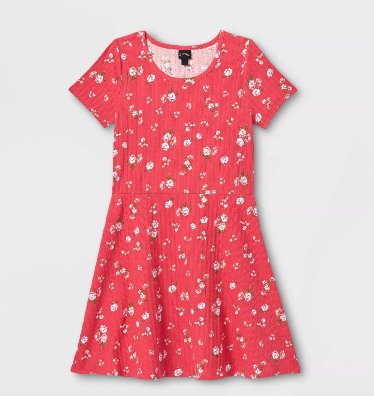 a red skater dress with small flowers on it