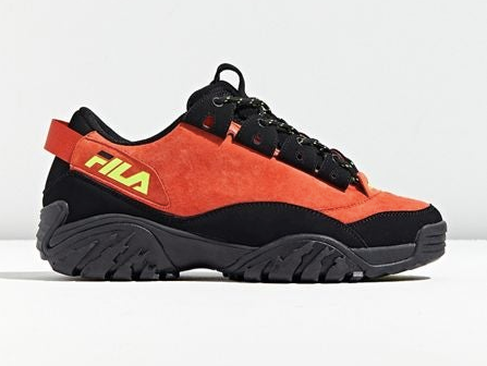 Black and orange chunky fila sneakers