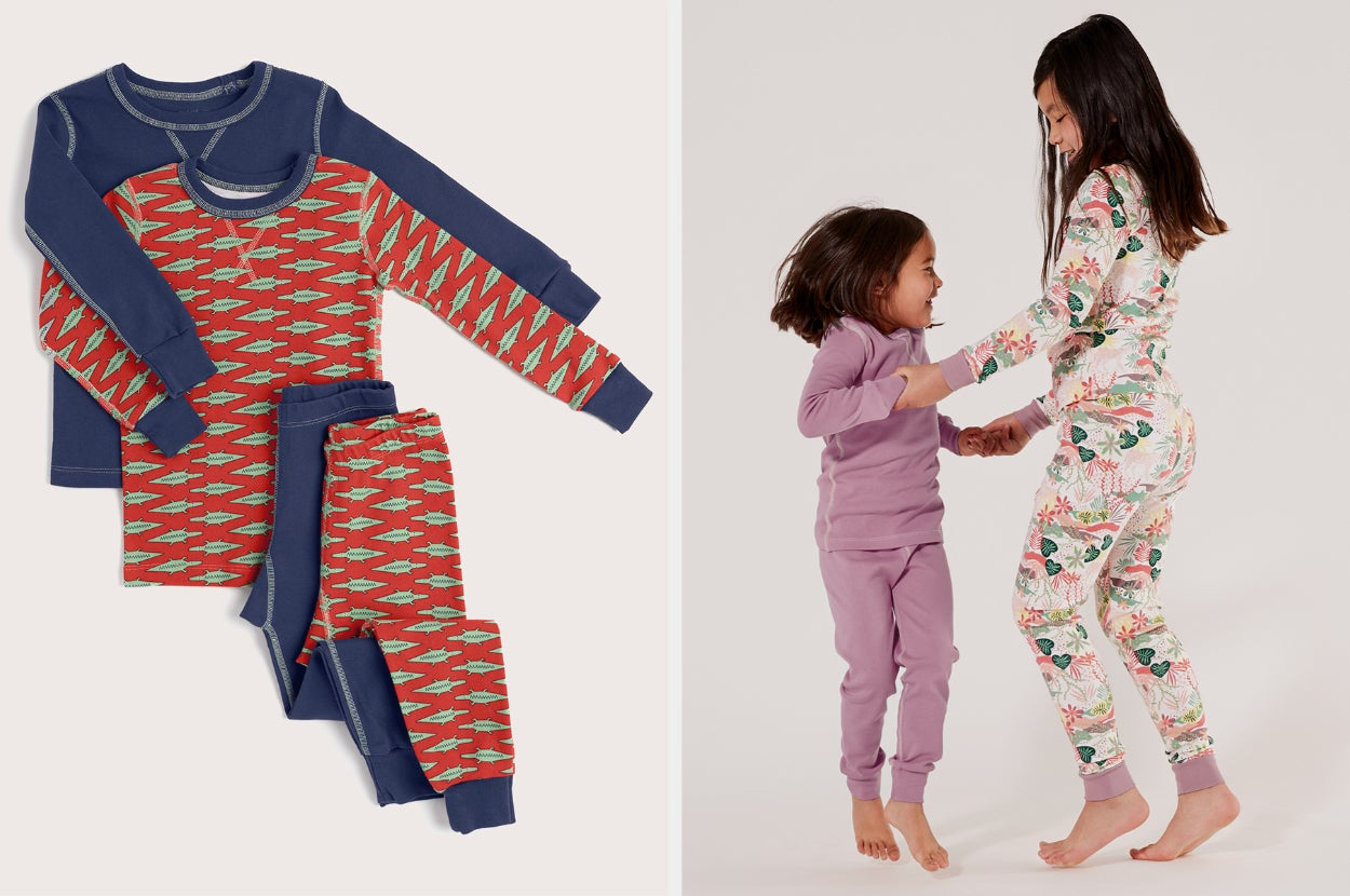 Split image of two sets of red and blue pajamas and two child models jumping and playing in their pjs