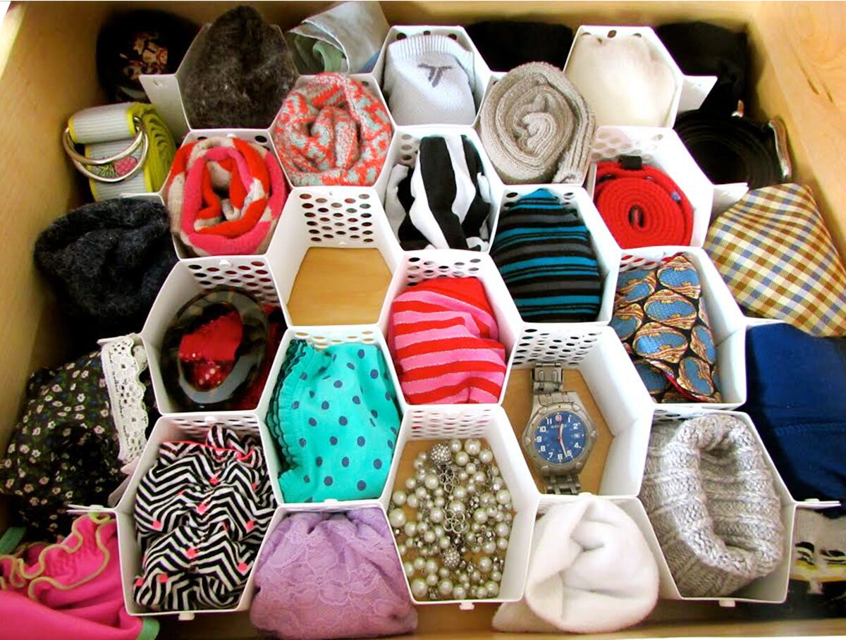 The organizers with socks and accessories in each compartment