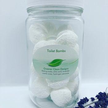 Glass jar of the white round toilet bombs