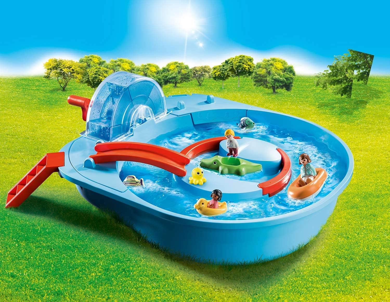 Blue and red plastic Playmobil water toy