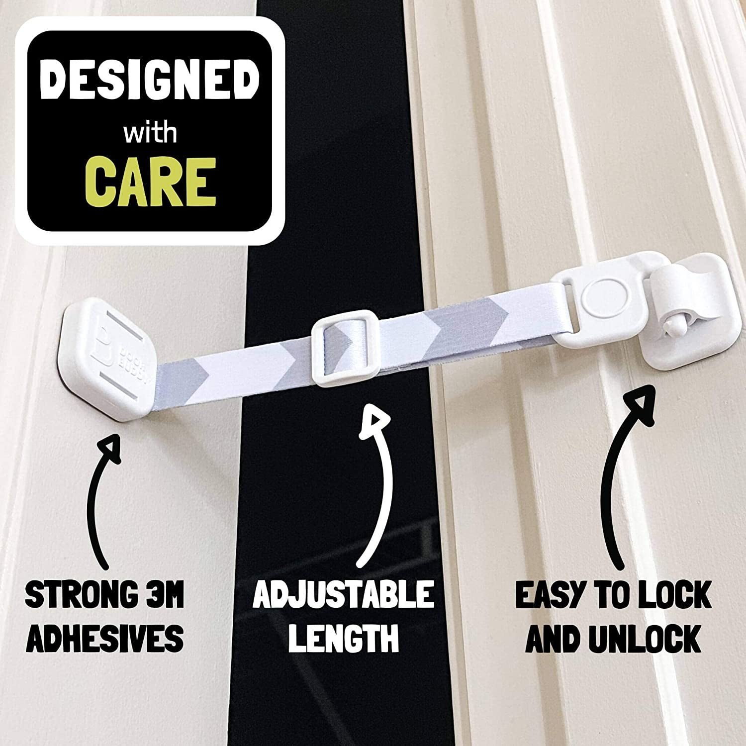 The door latch with text on the image that says