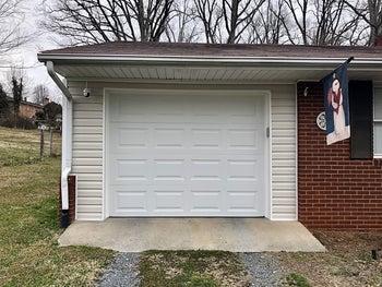 A white garage door
