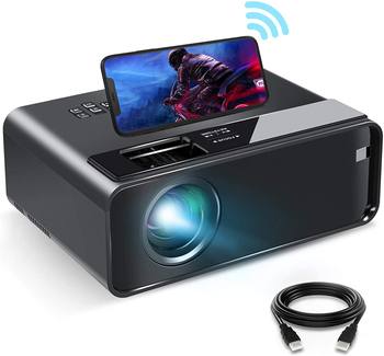 projector with phone on top of it