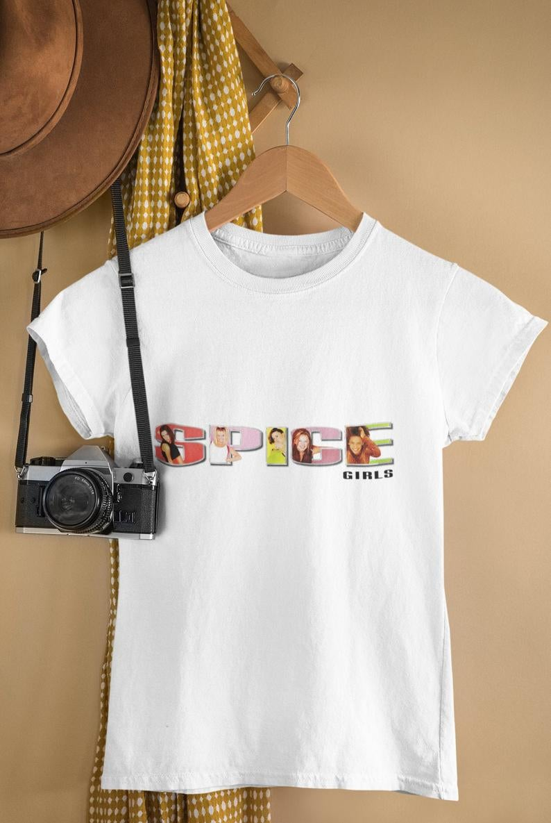 white t-shirt with the spice girls logo on the front