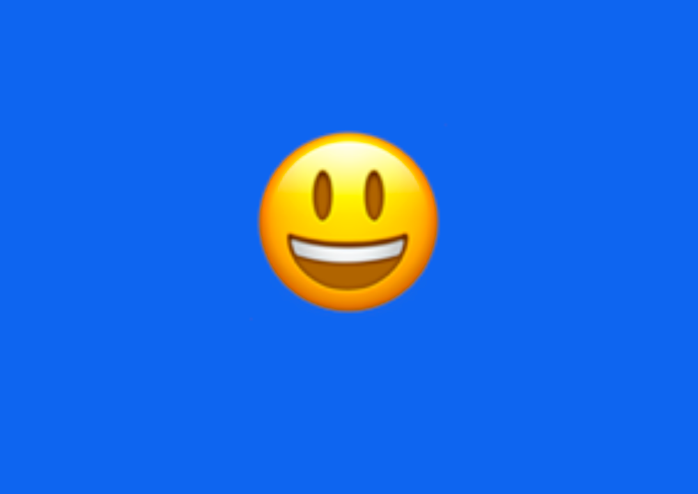 An emoji with a wide smile