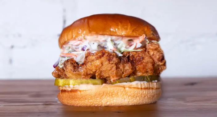 A crispy chicken sandwich