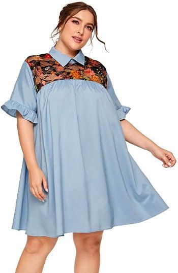 model wearing the dress in light blue