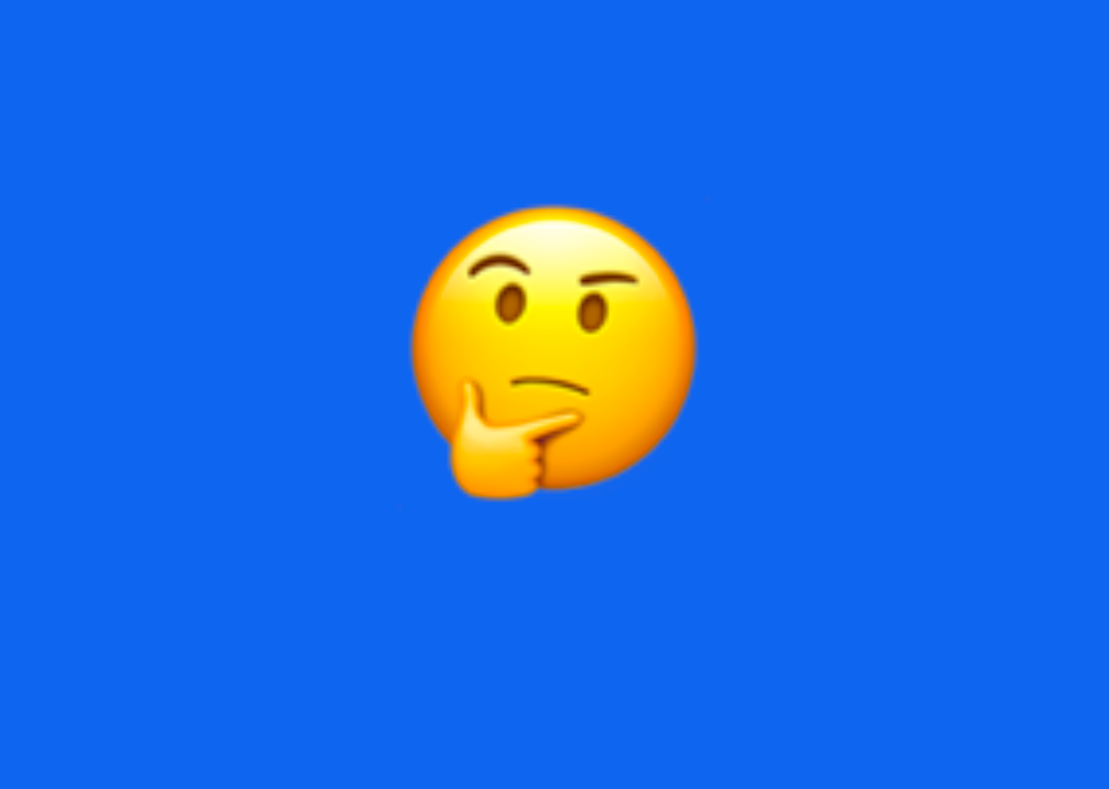 An emoji with two fingers resting on its face in a thinking pose