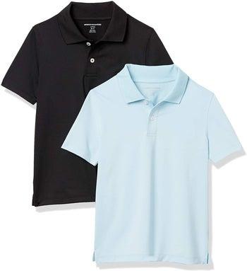 a black polo shirt and a light blue polo shirt