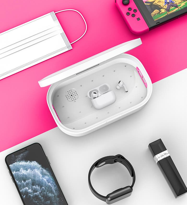the rectangular-shaped box with the lid open and airpods inside