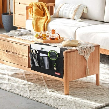 Bedside caddy placed on coffee table