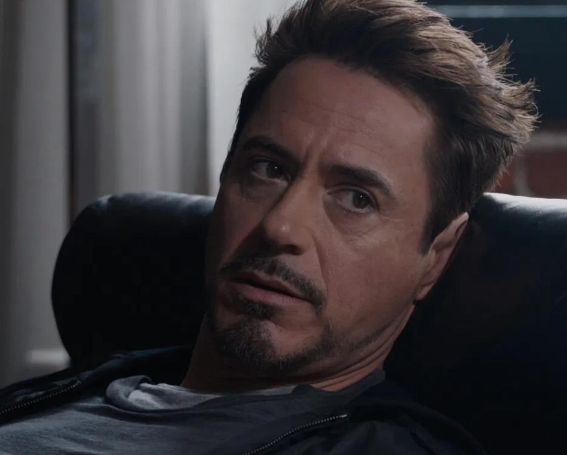 "Robert Downing Jr. as Tony Stark in the movie ""Iron Man 3."""