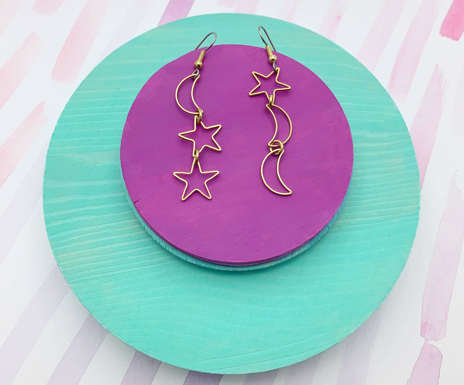 the star and moon celestial dangling earrings
