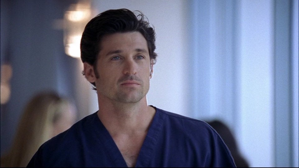Derek looks away