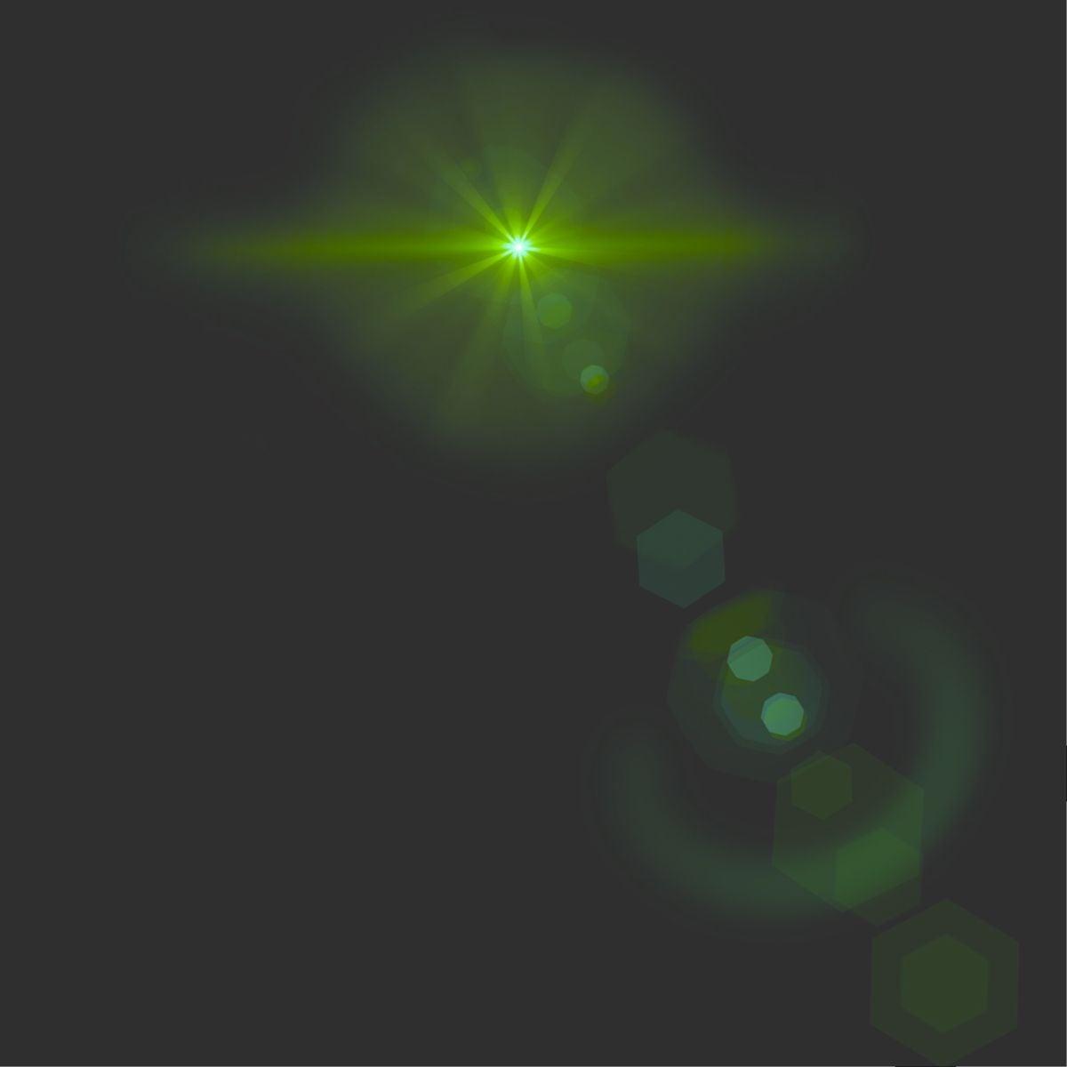 A dark sky, with a green, circular light at the top.