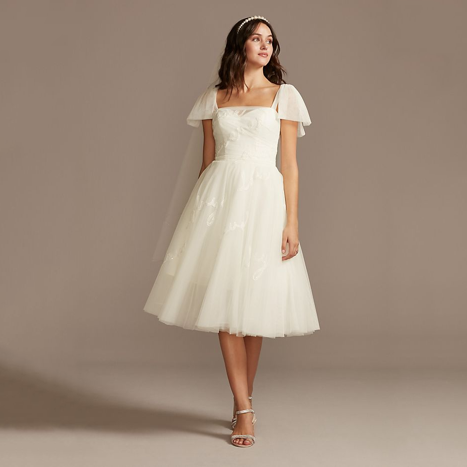 Embroidered Love Note Short Tulle Wedding Dress