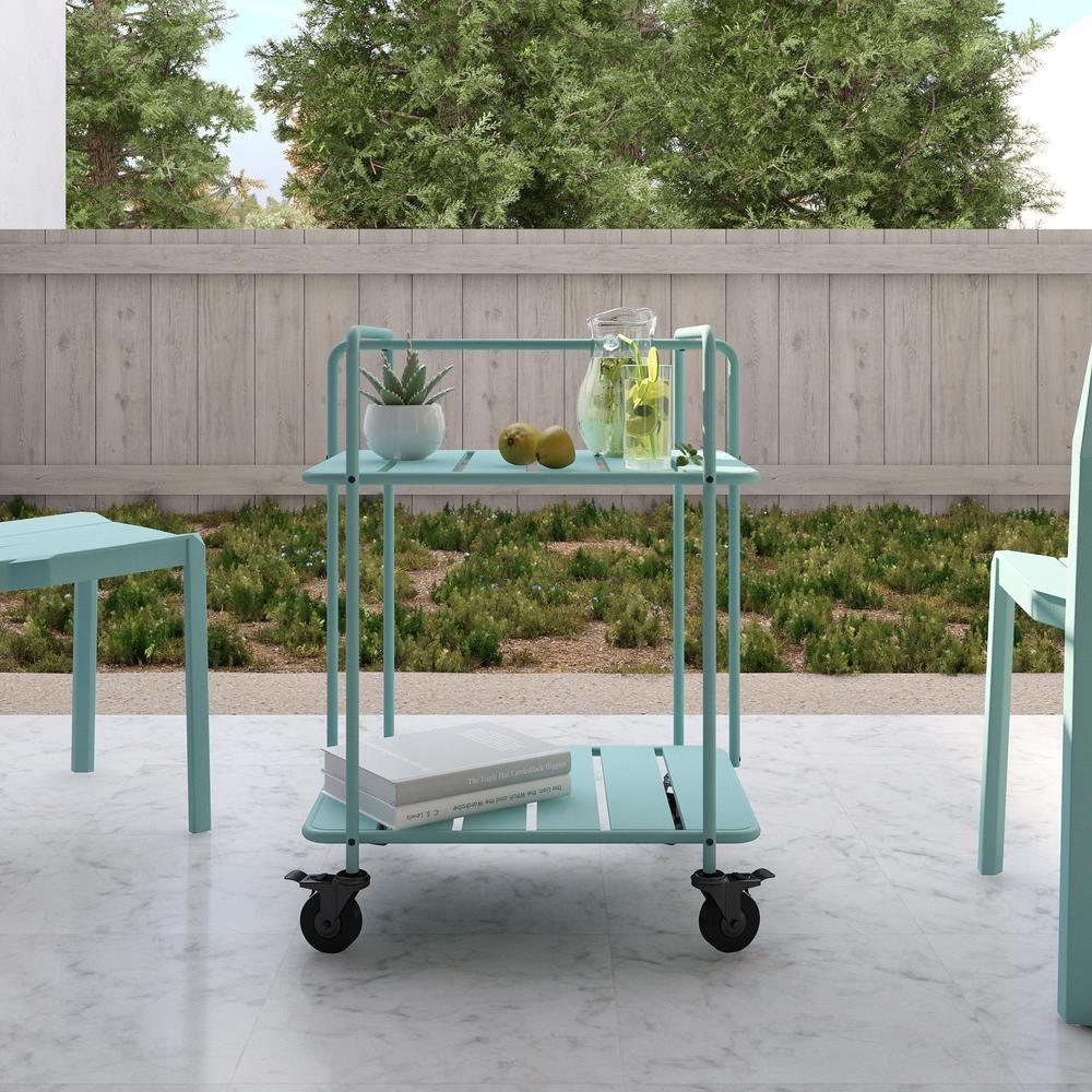 a light blue bar cart on wheels