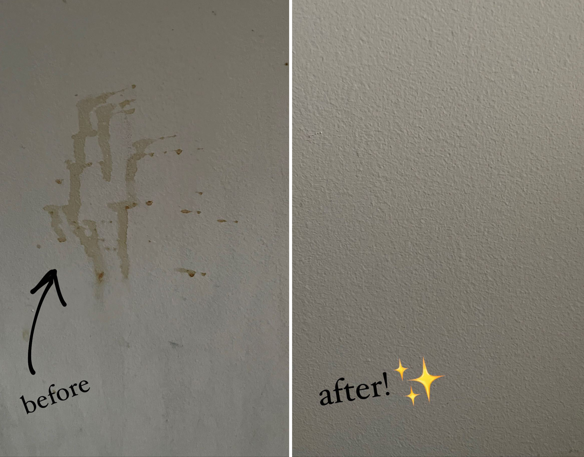 on the left buzzfeed editor's wall with brown goo on it captioned