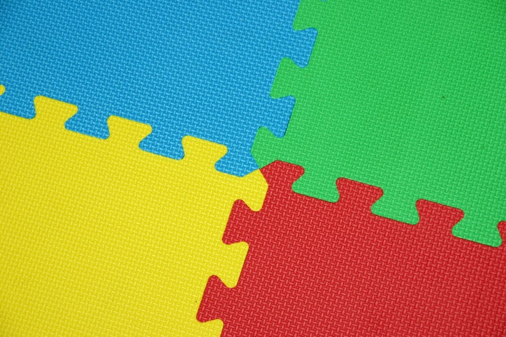Rubber mats that fit together like a puzzle
