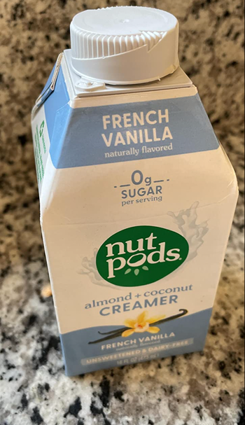 Reviewer image of small carton of french vanilla nutpod creamer