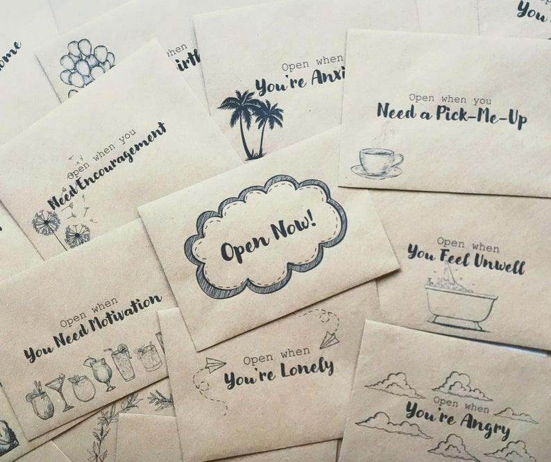 Brown paper cards that say things like
