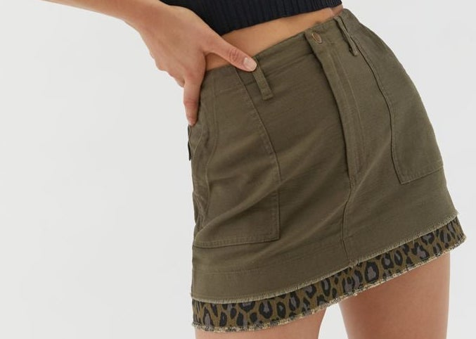 A mini skirt with a patterned trim