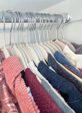 Closeup of hangers showing how close they stack together
