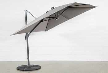 a gray cantilever umbrella