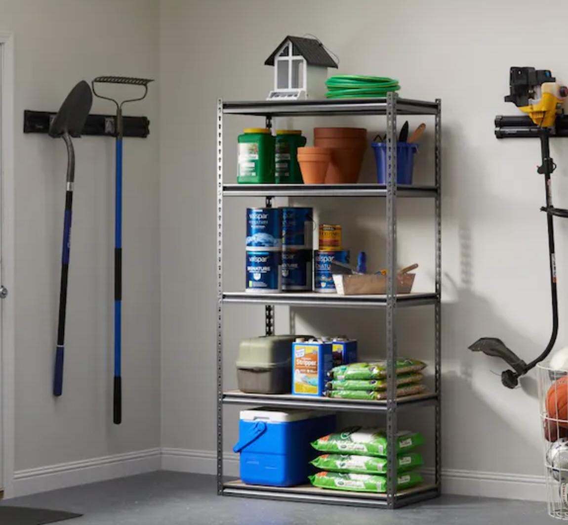 five-tier shelf in a garage