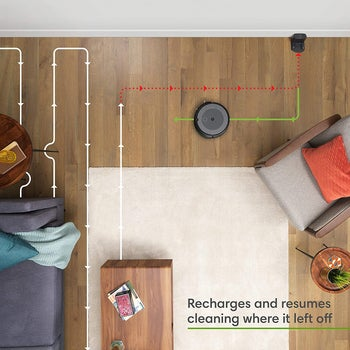 The robot vacuum in an aerial shot with the words
