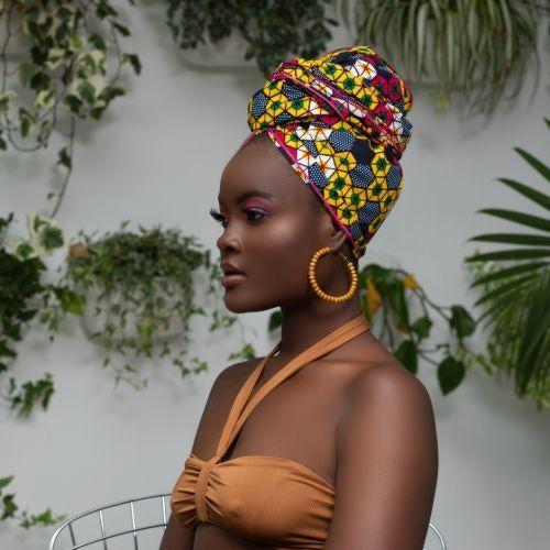 model in hair wrap