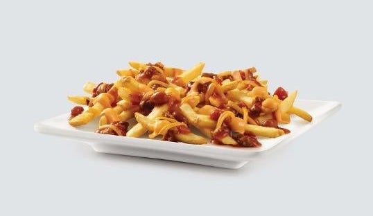 Fries topped with chili and cheese sauce