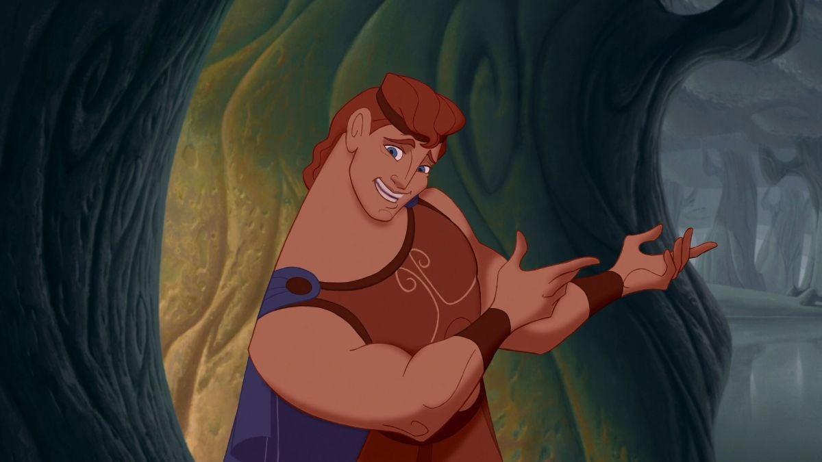 Hercules points his fingers and has a nervous expression on his face