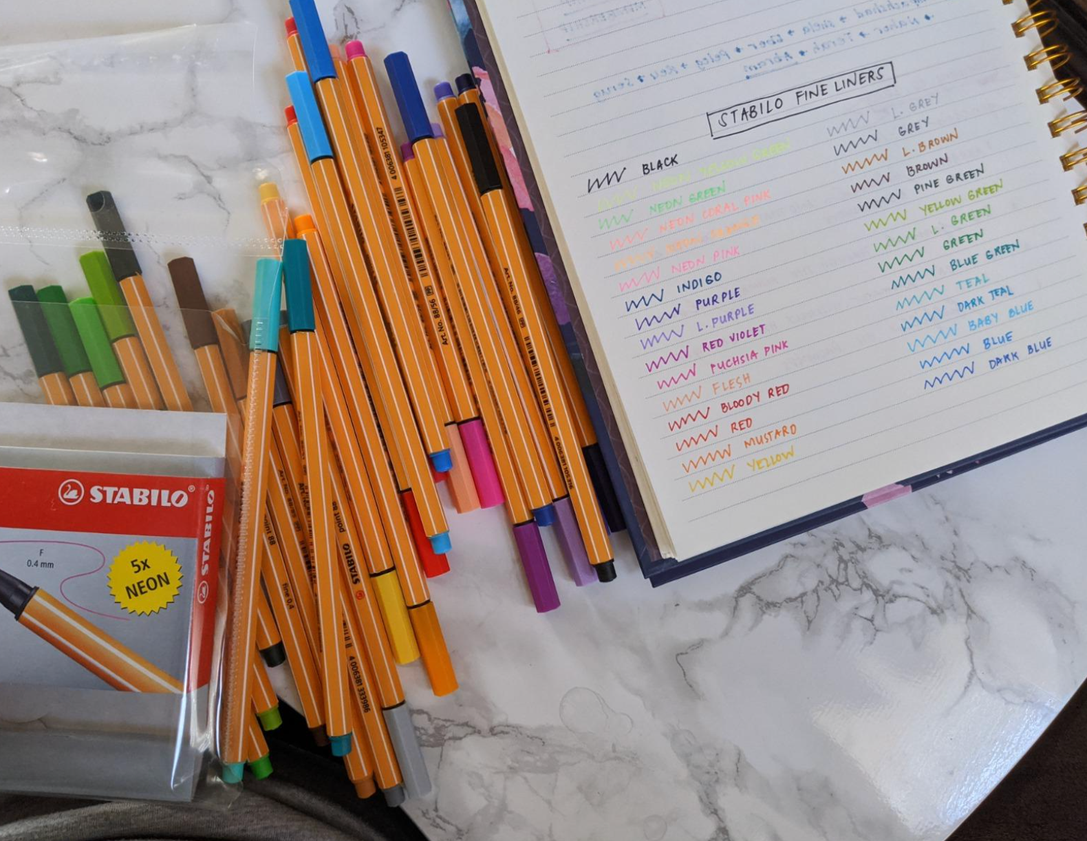 reviewer photo showing the pens spread out next to their journal