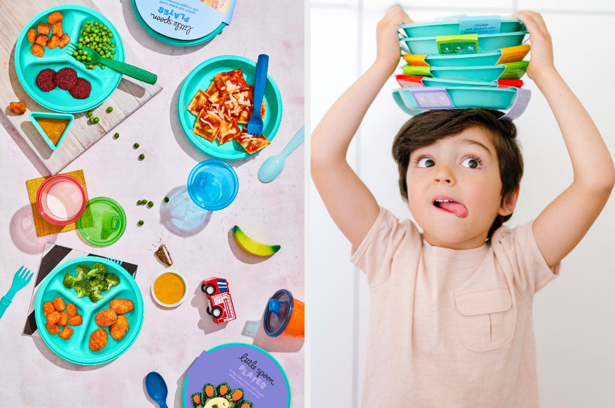 Split image of Little Spoon Meals and child model pulling faces with a stack of plates above his head