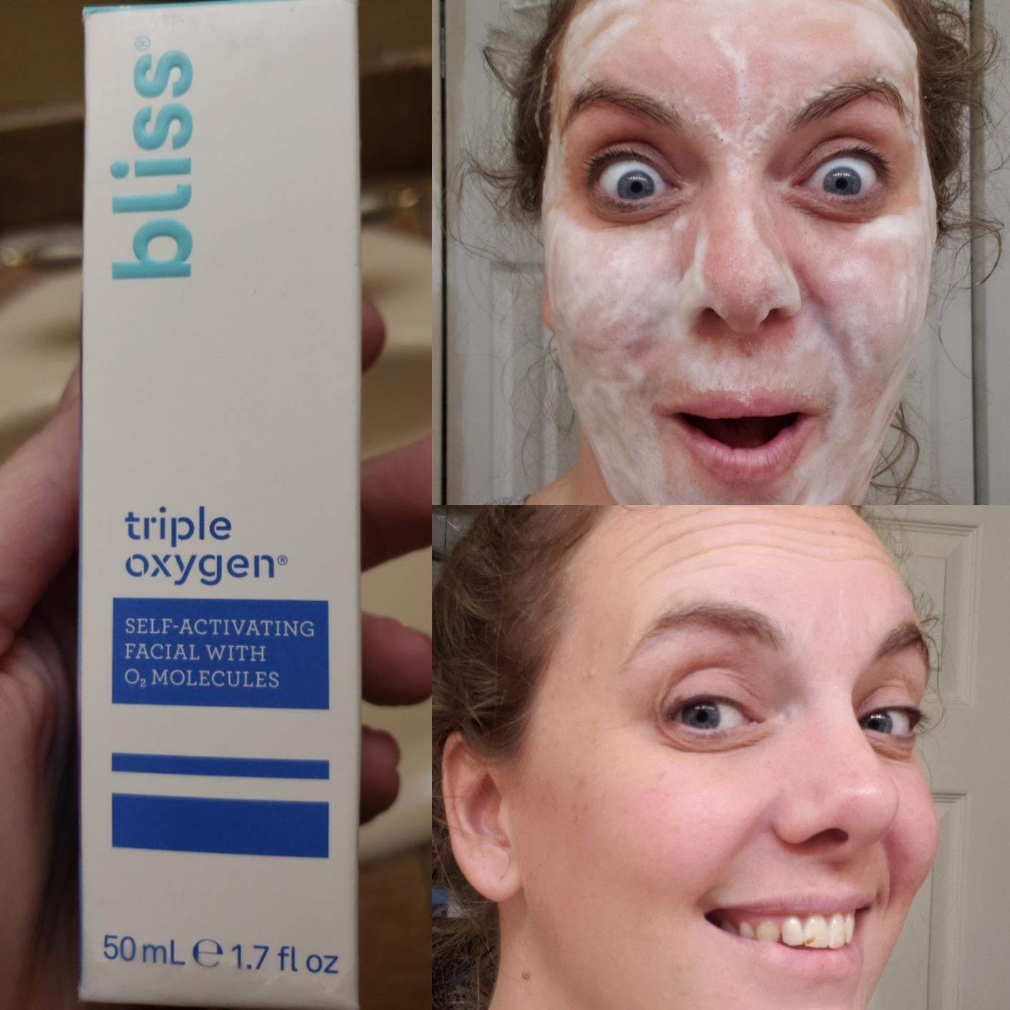 a reviewer with the foamy cleanser on and then a fresh face after rinsing